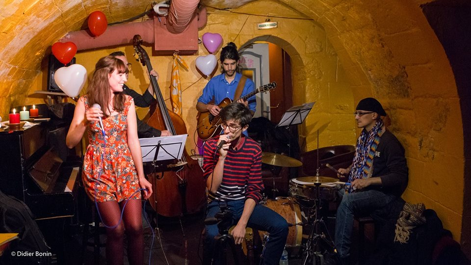 Audrey Thirot Latin Jazz Quartet performing at Le Caméléon in Paris in November 2016. With JB Perraudin, Giacomo Troncon and Abel Pamies, featuring special guest Nicolas Almosni.