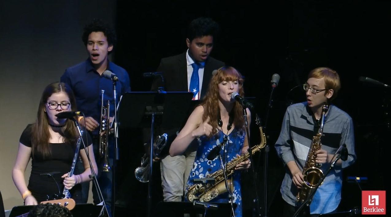 Audrey Thirot in Berklee College of Music Salsa Ensemble_August 2017.